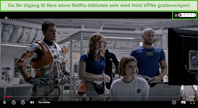 Skjermbilde av Hola VPN som blokkerer The Martian på Netflix USA