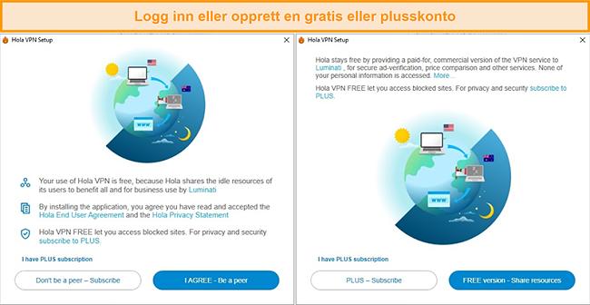 Skjermbilder av Hola VPN-installasjonsprosessen