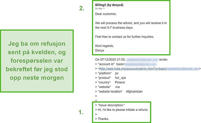 Skjermbilde av en e-post fra Hola VPN som bekrefter refusjon innen ti timer etter den opprinnelige forespørselen