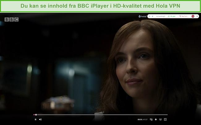 Skjermbilde av Hola VPN som blokkerer Killing Eve på BBC iPlayer