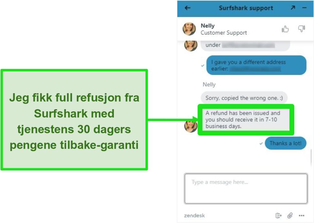 Skjermbilde av Surfshark live chat og refusjonsforespørsel