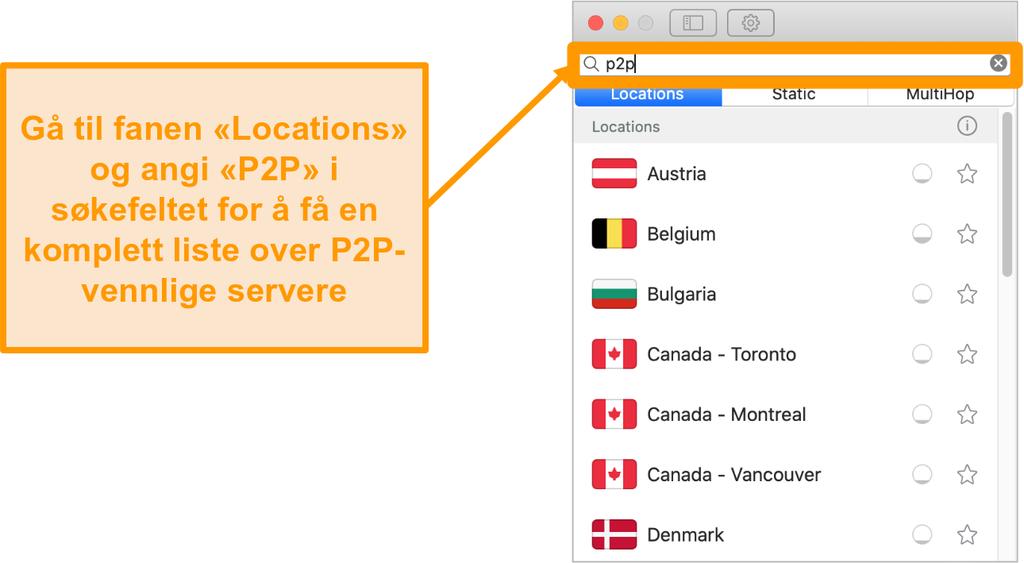 Skjermbilde av Surfsharks P2P-servere på Mac-appen