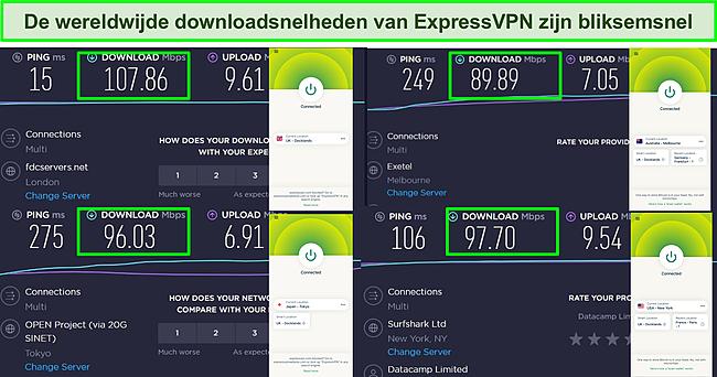 Screenshot van Ookla-snelheidstestresultaten met ExpressVPN verbonden met meerdere wereldwijde servers.