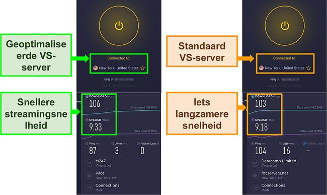 Screenshot van CyberGhost-snelheidstestresultaten bij verbinding met een geoptimaliseerde server en een standaardserver.