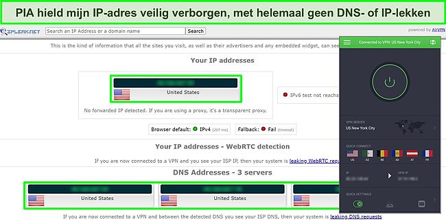 Screenshot van IP-lektestresultaten met PIA verbonden met een Amerikaanse server.