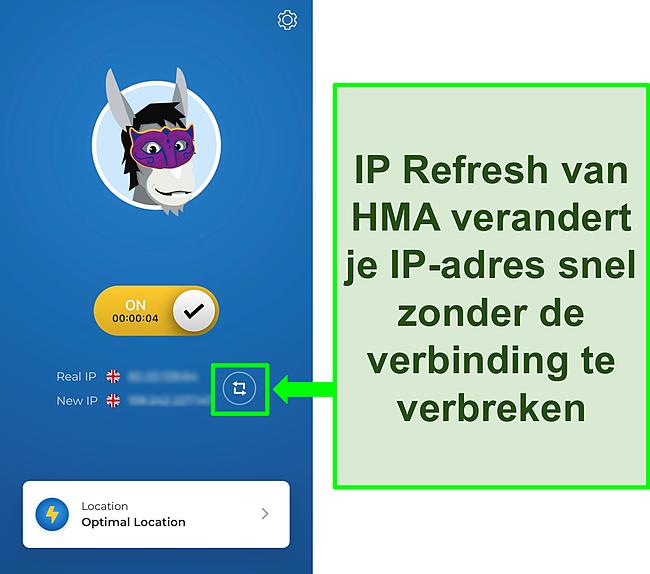 Screenshot van HMA's IP Refresh-functie.