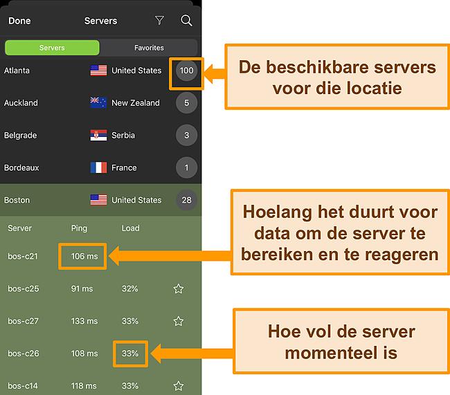 Screenshot van IPVanish iOS-app met serverinformatie gemarkeerd.