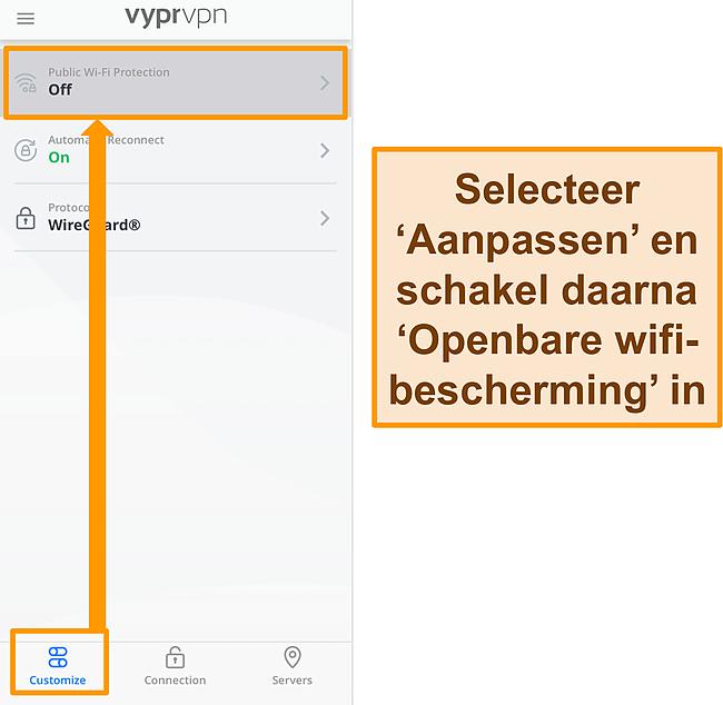 Screenshot van VyprVPN's instelling voor openbare wifi-beveiliging.