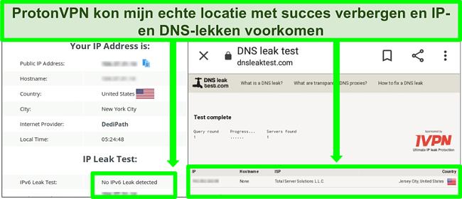 Screenshot van een DNS- en IP-adreslektest die geen IP-adreslekken laat zien tijdens verbinding met ProtonVPN