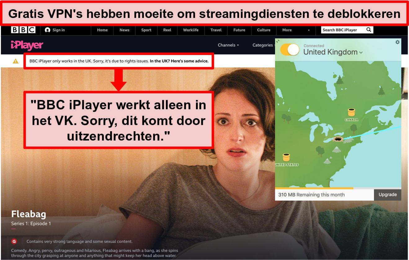Screenshot van TunnelBear verbonden met een Britse server en heeft geen toegang tot BBC iPlayer