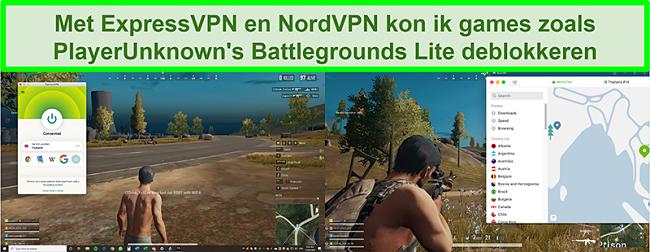 Vergelijkende schermafbeeldingen van een gebruiker die PlayUnknown's Battlegrounds Lite speelt terwijl hij is verbonden met respectievelijk ExpressVPN en NordVPN