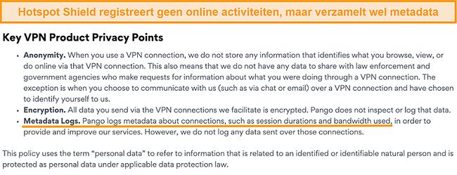 Screenshot van het privacybeleid van Hotspot Shields