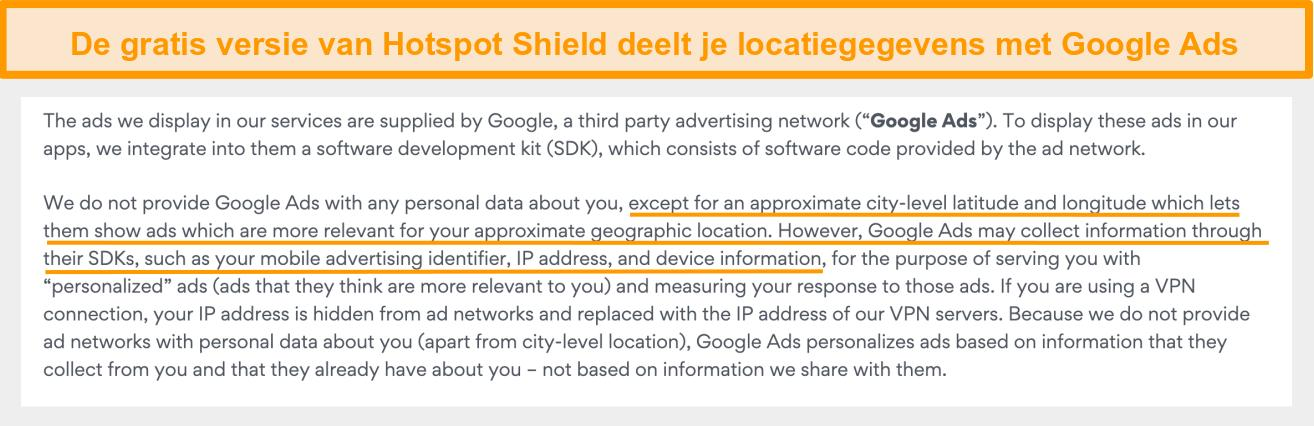 Screenshot van het privacybeleid van Hotspot Shield op Google Ads