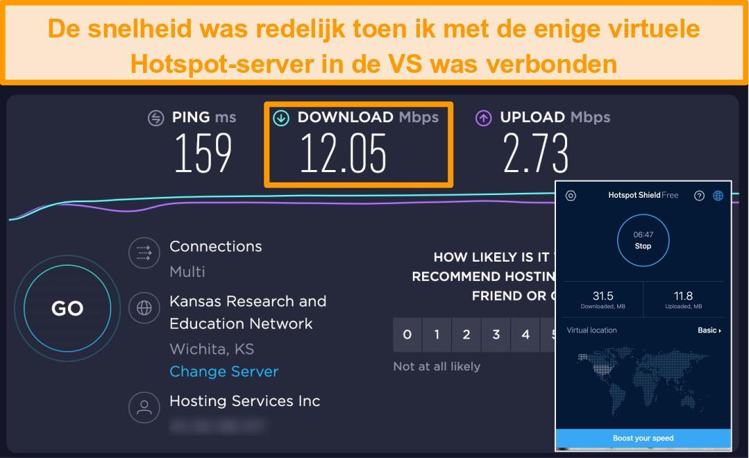 Schermafbeelding van de gratis versie van Hotspot Shield op Mac die is aangesloten op een Amerikaanse server met resultaten van snelheidstests