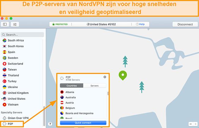 Screenshot van de P2P-servers van NordVPN op de Mac-app