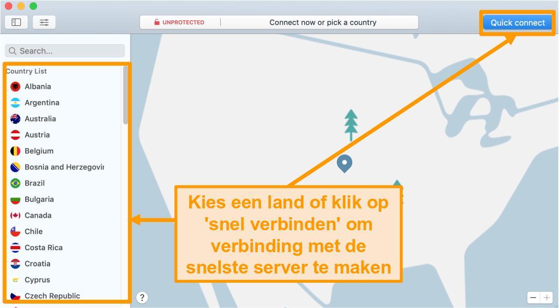 Screenshot van de NordVPN-app op Mac met Quick Connect en serverlijstopties