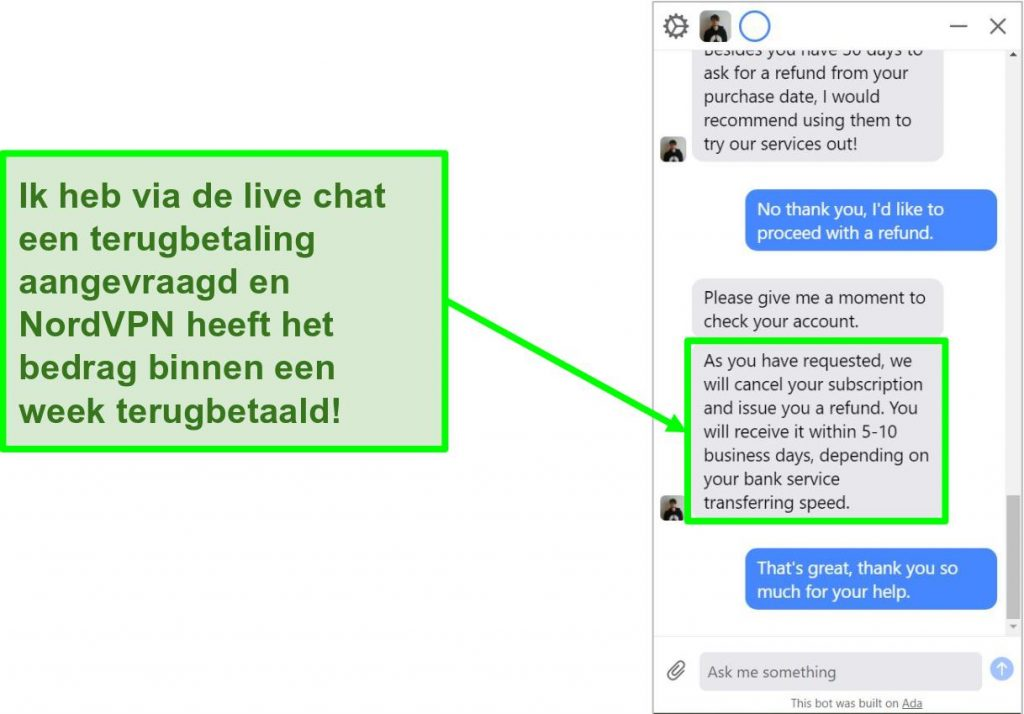 Screenshot van een klant die om terugbetaling vraagt u200bu200bmet de 30 dagen geld-terug-garantie op de live chat van NordVPN