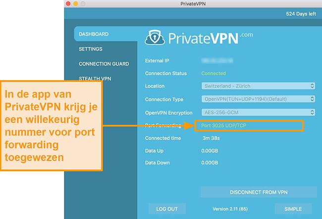 Screenshot van PrivateVPN met poortdoorschakelnummer zichtbaar in de Mac-app