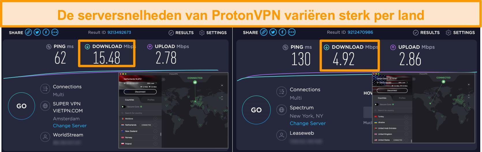 Screenshot van ProtonVPN verbonden met Nederland en de VS met resultaten van snelheidstests