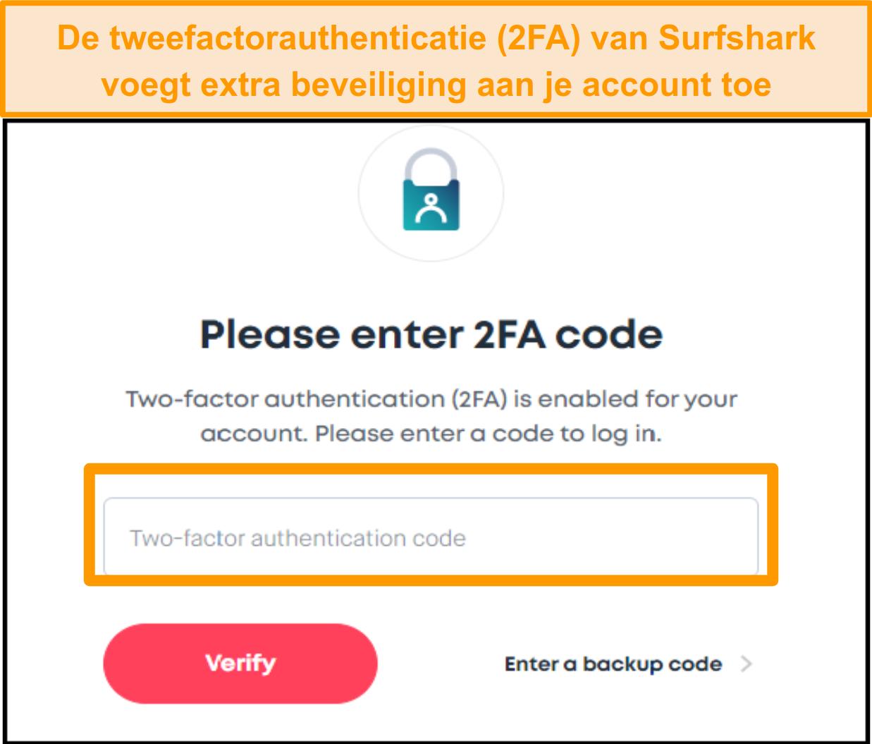 Screenshot van het 2FA-code-invoerscherm van Surfshark