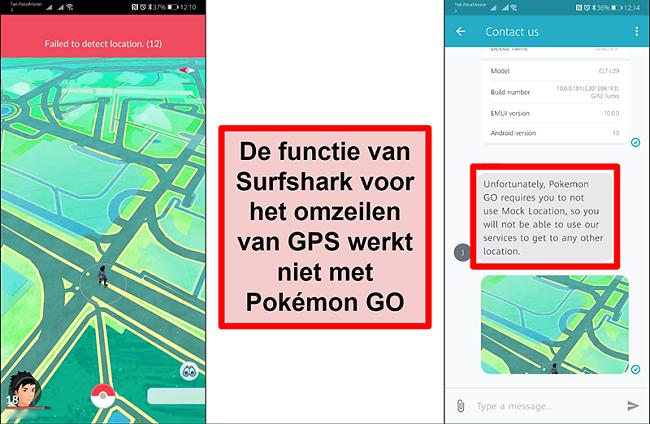 Schermafbeeldingen van de klantenservice van Surfshark die bevestigen dat Pokémon Go niet werkt met gps-spoofing, waarbij de schermafbeelding van Pokémon Go laat zien dat het de huidige locatie niet kon detecteren