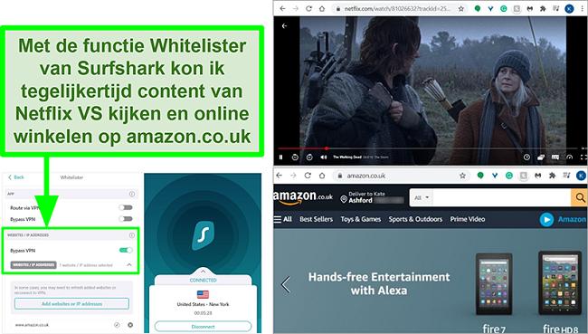 Screenshots van Netflix US en Amazon UK die tegelijkertijd worden gebruikt vanwege de Whitelister-functie van Surfshark