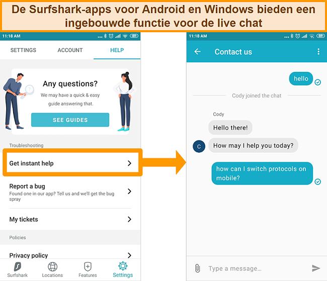 Screenshot van de ingebouwde live chatfunctie van Surfshark op de Android-app