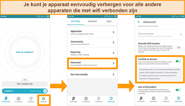 Screenshot van de functie Onzichtbaar voor apparaten van Surfshark op de Android-app