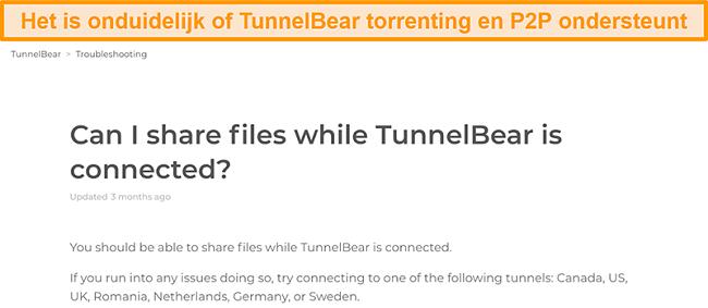 Screenshot van de TunnelBear-pagina voor probleemoplossing over het delen van bestanden