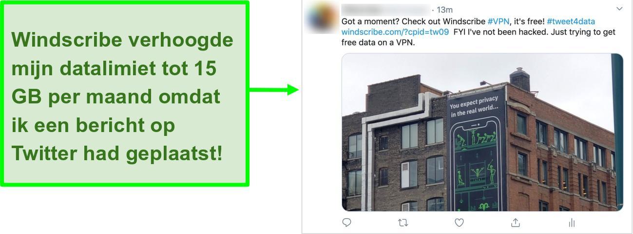 Schermafbeelding van Twitter-bericht waarin Windscribe VPN wordt gepromoot in ruil voor 15 GB gratis data per maand