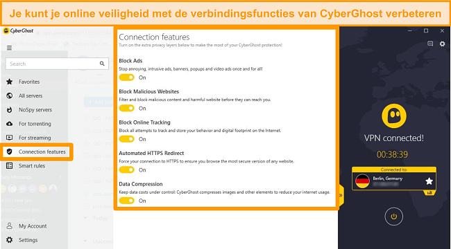 Screenshot van de CyberGhost-verbindingsfuncties om de online beveiliging te verbeteren