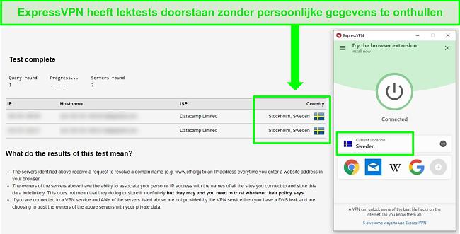 Screenshot van ExpressVPN die een DNS-lektest doorstaat terwijl het is verbonden met Zweedse servers