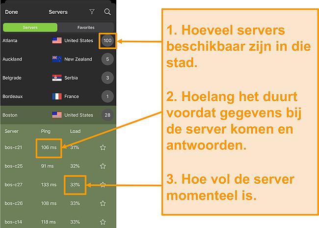 Screenshot van IPVanish-serverlijst met servernummers, ping en serverbelasting gemarkeerd