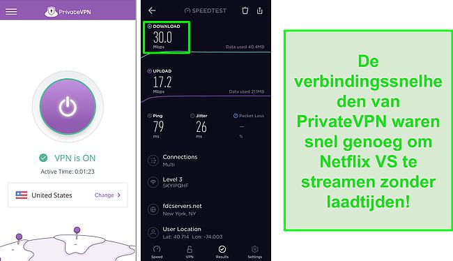 Screenshot van PrivateVPN verbonden met Amerikaanse server en Ookla-snelheidstest