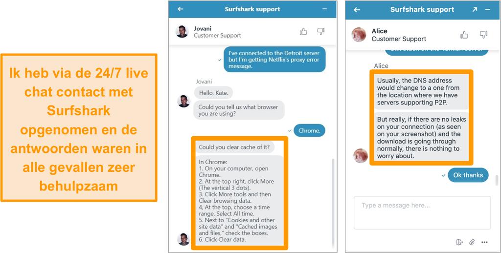 Screenshot van de 24/7 live chatfunctie van Surfshark met advies voor probleemoplossing over Netflix US en torrenting