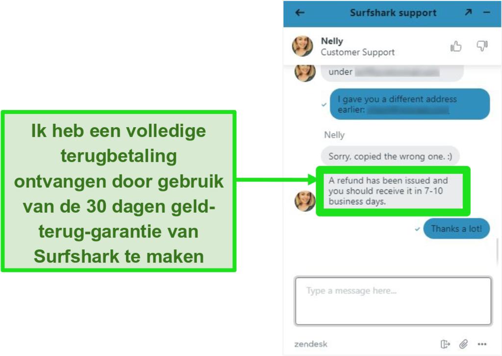 Screenshot van Surfshark live chat en een restitutieverzoek