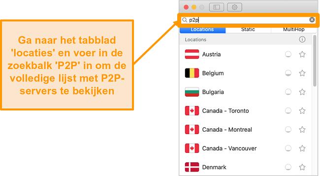 Screenshot van de P2P-servers van Surfshark op de Mac-app