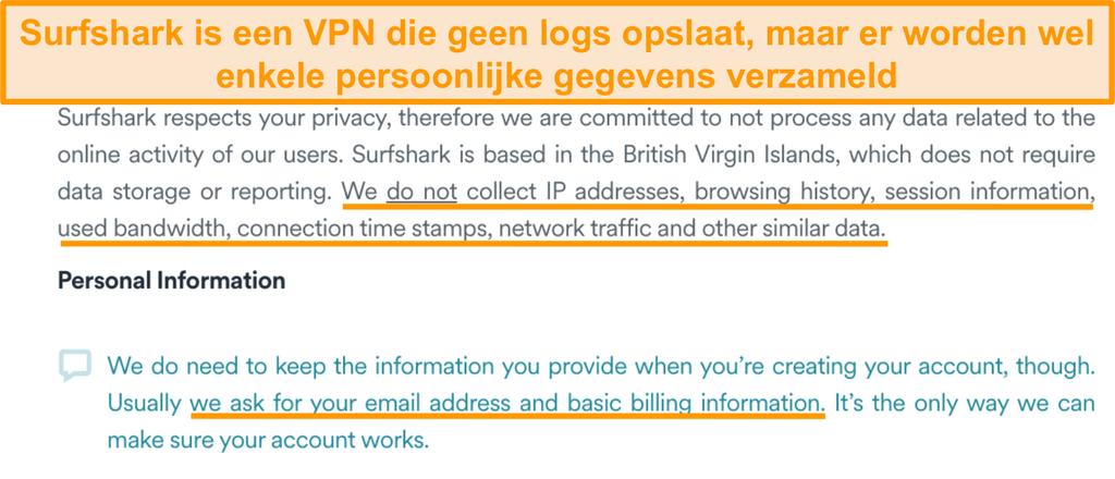 Screenshot van het privacybeleid van Surfshark