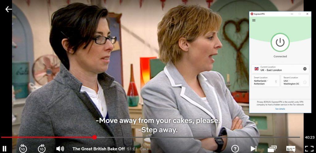 """带有ExpressVPN的Netflix UK-""""The Great British Bake Off"""""""