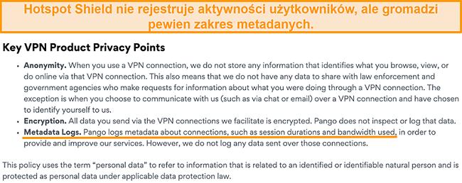 Zrzut ekranu polityki prywatności Hotspot Shields