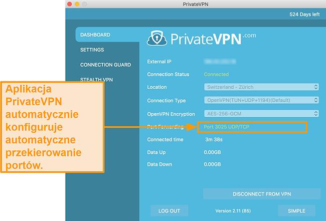 Zrzut ekranu PrivateVPN z numerem przekierowania portów widocznym w aplikacji Mac