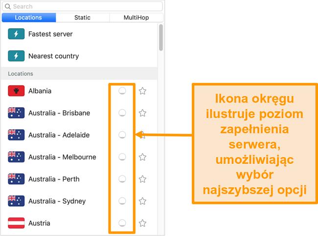 Zrzut ekranu z listą serwerów Surfshark wyświetlającą obciążenie serwera
