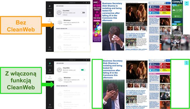 Zrzuty ekranu strony Daily Mail z funkcją Surfshark CleanWeb blokującą wszystkie reklamy