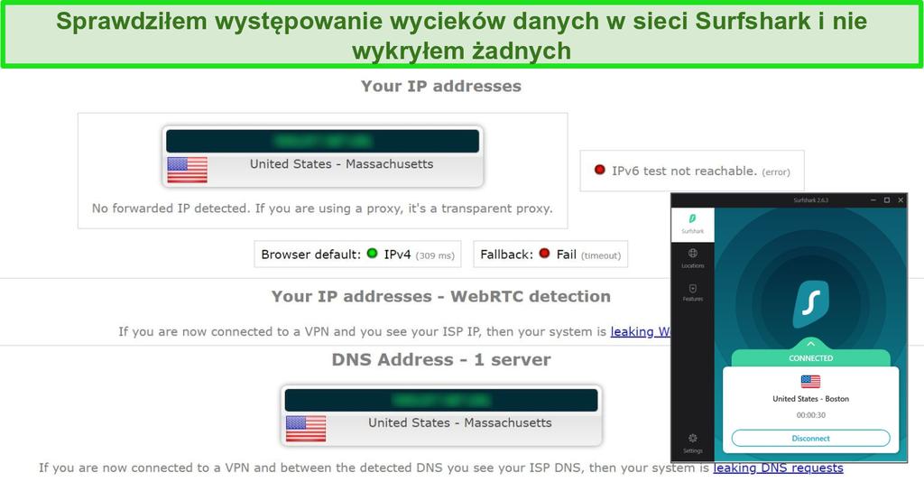 Zrzut ekranu z wynikami testu wycieków z Surfshark połączonym z serwerem w USA