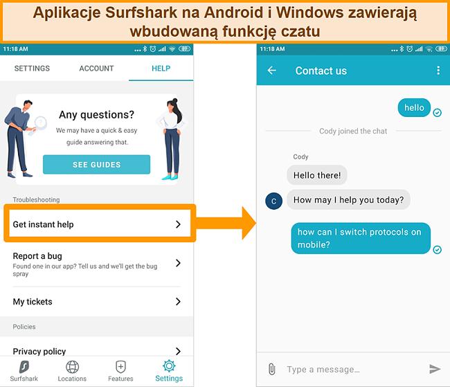 Zrzut ekranu z wbudowaną funkcją czatu na żywo Surfshark w aplikacji na Androida