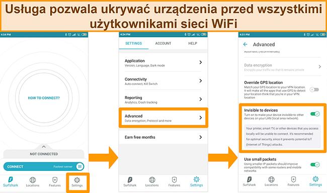 Zrzut ekranu przedstawiający niewidoczną dla urządzeń funkcję Surfshark w aplikacji na Androida