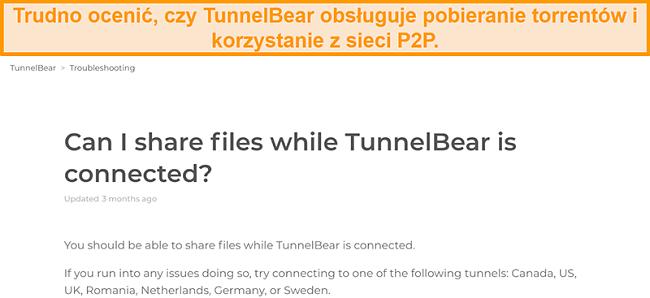 Zrzut ekranu strony rozwiązywania problemów TunnelBear w zakresie udostępniania plików