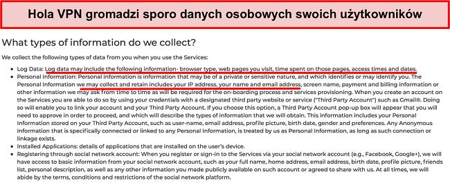 Zrzut ekranu polityki prywatności Hola VPN pokazujący, że rejestruje adres IP