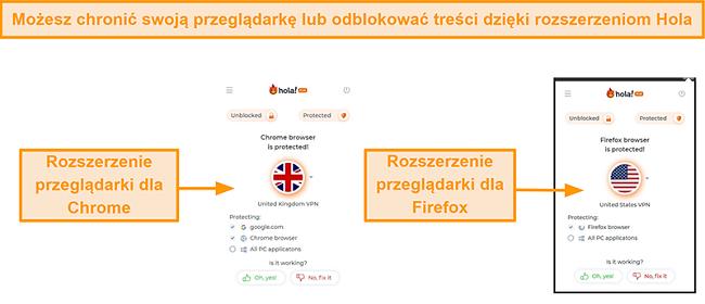 Zrzut ekranu rozszerzeń przeglądarki Chrome i Firefox Hola VPN