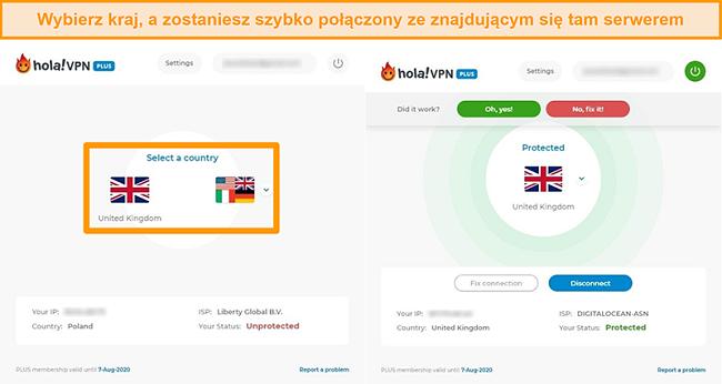 Zrzuty ekranu pokazujące, jak połączyć się z serwerem określonego kraju w Hola VPN